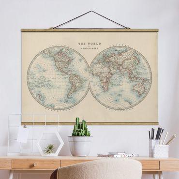 Foto su tessuto da parete con bastone - Mappa del mondo Vintage i due emisferi - Orizzontale 2:3