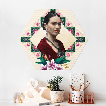 Esagono in Alu-dibond - Frida Kahlo - fiori e Geometria