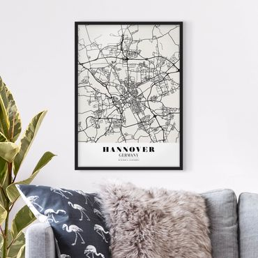 Poster con cornice - Hannover City Map - Classic - Verticale 4:3
