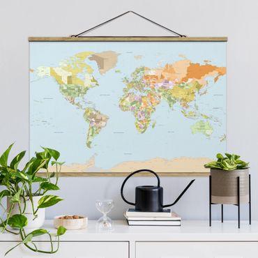 Foto su tessuto da parete con bastone - Mappa politica del mondo - Orizzontale 2:3