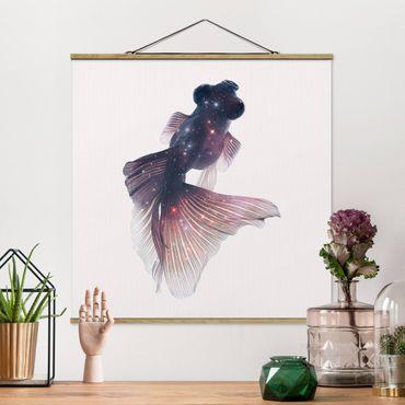 Foto su tessuto da parete con bastone - Pesce Con Galaxy - Quadrato 1:1