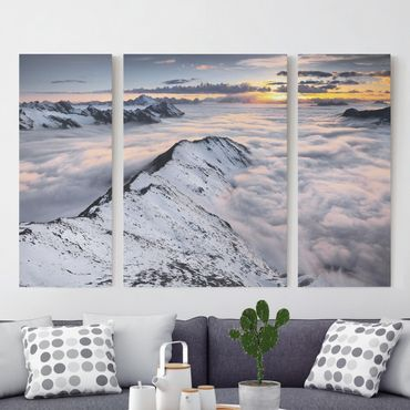 Stampa su tela 3 parti - View Of Clouds And Mountains - Trittico