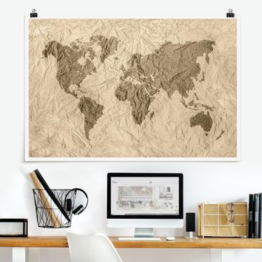 Poster - Paper World Map Beige Marrone - Orizzontale 2:3