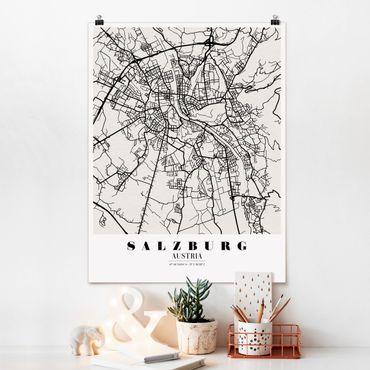 Poster - Mappa Salisburgo - Classic - Verticale 4:3