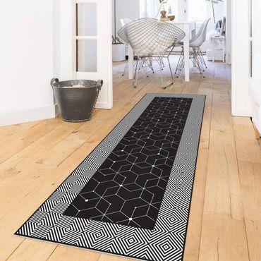 Tappeti in vinile - Piastrelle geometriche linee puntate in nero con bordi - Pannello