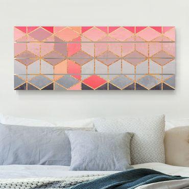 Stampa su legno - Elisabeth Fredriksson - Colorful pastello oro Geometria - Orizzontale 2:5
