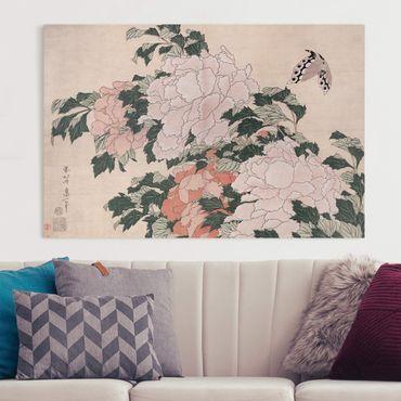 Stampa su tela - Katsushika Hokusai - Rosa peonie con la farfalla - Orizzontale 2:3