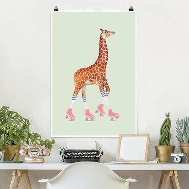 Poster - Jonas Loose - Giraffa Con Pattini a rotelle - Verticale 3:2