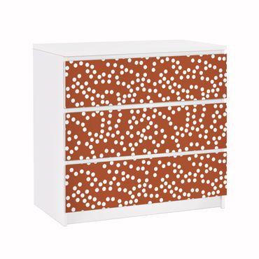 Carta adesiva per mobili IKEA - Malm Cassettiera 3xCassetti - Aboriginal dot pattern Brown