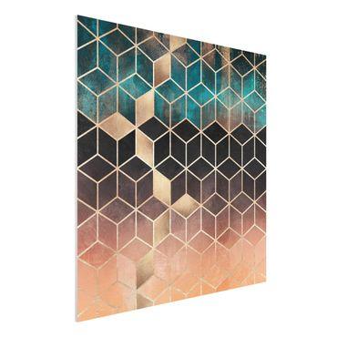 Stampa su Forex - Turchese Rosa d'Oro Geometria - Quadrato 1:1
