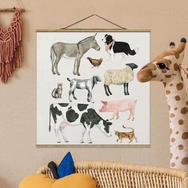 Foto su tessuto da parete con bastone - La fattoria degli animali II Famiglia - Quadrato 1:1