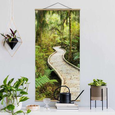 Quadro su tessuto con stecche per poster - Percorso In The Jungle - Verticale 2:1
