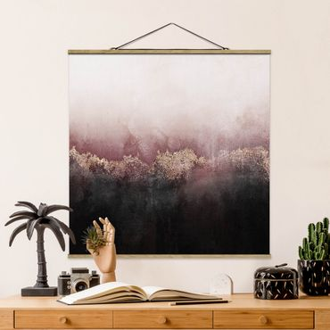 Foto su tessuto da parete con bastone - Elisabeth Fredriksson - Alba Dorata Rosa - Quadrato 1:1
