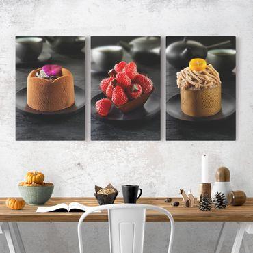 Stampa su tela 3 parti - Chocolate tart with raspberries - Verticale 3:2