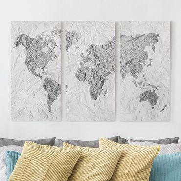 Stampa su tela 3 parti - Paper world map White Gray - Verticale 2:1