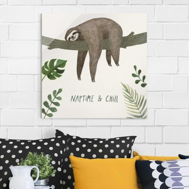 Quadro in vetro - Sloth Sayings - Chill - Quadrato 1:1