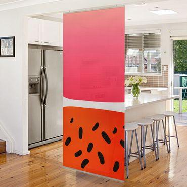 Tenda a pannello - Forme astratte - melone e rosa - 250x120cm
