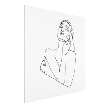 Stampa su Forex - Line Art Torso della donna Bianco e nero - Quadrato 1:1