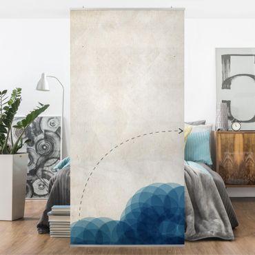 Tenda a pannello - Forme astratte - Cerchi blu - 250x120cm