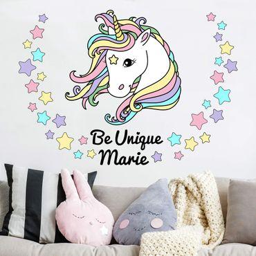 Adesivo murale - Unicorn Illustrazione pastello Stelle