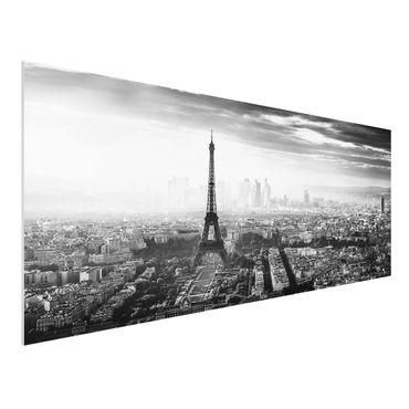 Quadro in forex - La Torre Eiffel From Above Bianco e nero - Panoramico