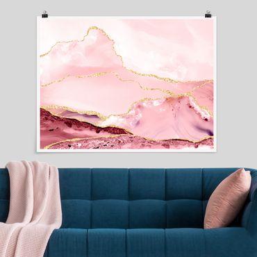 Poster - Estratto Monti rosa con Golden Lines - Orizzontale 3:4