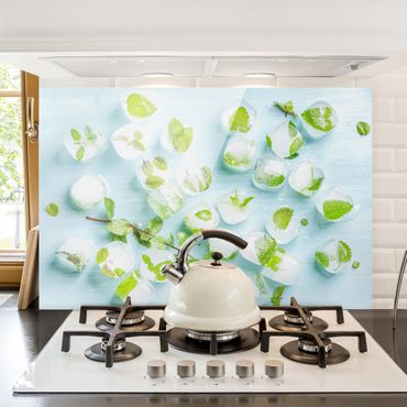 Paraschizzi in vetro - Ice Cubes With Mint Leaves - Orizzontale 2:3