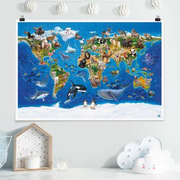 Poster - Mappa del mondo con animali - Orizzontale 2:3