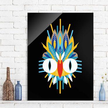 Quadro in vetro - Collage Mask Ethnic - Piume - Verticale 4:3