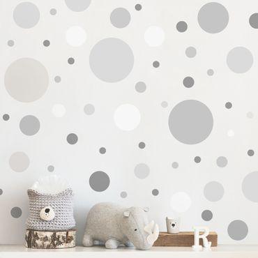 Adesivo murale - Punti Confetti grigio Set