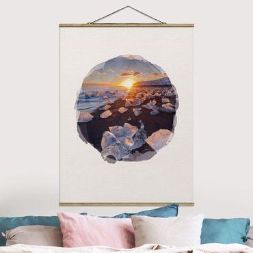 Foto su tessuto da parete con bastone - Acquerelli - pezzi di ghiaccio sulla spiaggia Islanda - Verticale 4:3