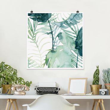 Poster - fronde di palma in acquerello II - Quadrato 1:1