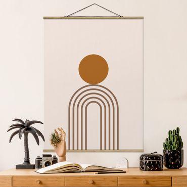 Foto su tessuto da parete con bastone - Line Art Circle e linee in rame - Verticale 4:3