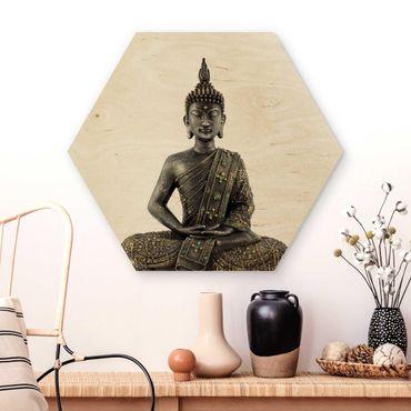 Esagono in legno - Zen Buddha di pietra