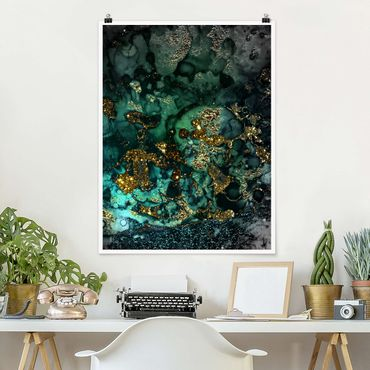 Poster - Oro Isole del Mar astratta - Verticale 4:3