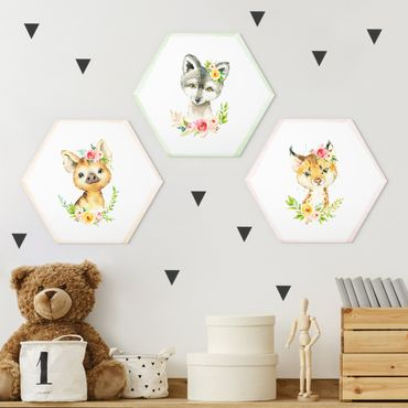 Esagono in Alu-dibond - Acquerello Forest Animals con fiori Set II