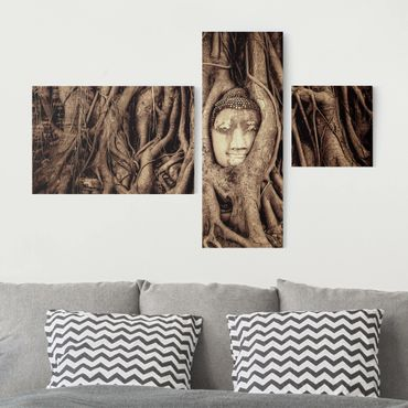 Stampa su tela 3 parti - Buddha in Ayutthaya from tree roots lined in brown - Collage 2