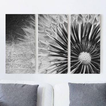 Stampa su tela 3 parti - Dandelion Black & White - Verticale 2:1