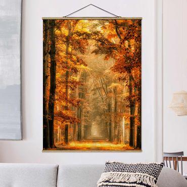 Foto su tessuto da parete con bastone - Enchanted Forest In autunno - Verticale 4:3