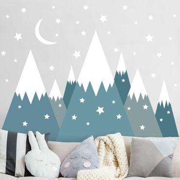 Adesivo murale - Montagne innevate stelle e la luna