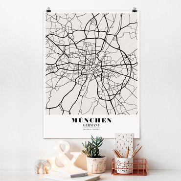 Poster - Mappa di Monaco di Baviera - Classic - Verticale 4:3