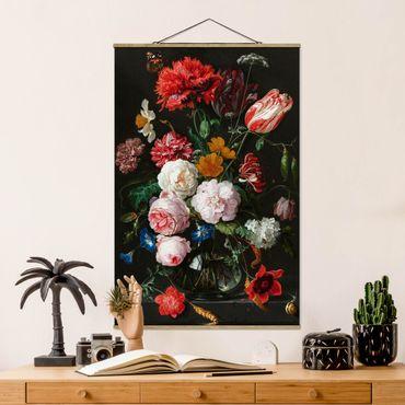Foto su tessuto da parete con bastone - Jan Davidsz De Heem - Natura morta con fiori in un vaso di vetro - Verticale 3:2