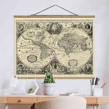 Foto su tessuto da parete con bastone - Illustrazione Vintage Mappa del mondo antico - Orizzontale 3:4