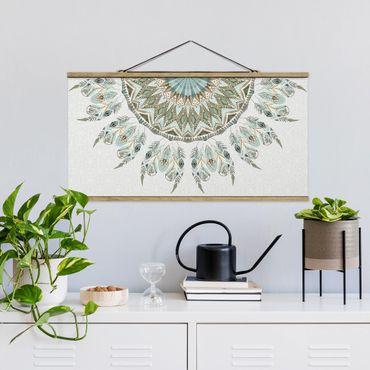 Foto su tessuto da parete con bastone - Mandala Acquerello Springs semicircolare Verde Blu - Orizzontale 1:2
