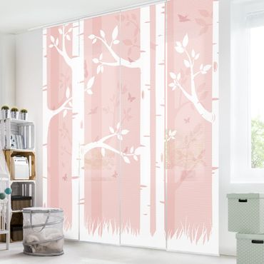 Tende scorrevoli set - Rosa Birch Forest With Butterflies And Birds