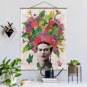 Foto su tessuto da parete con bastone - Frida Kahlo - Fiore Ritratto - Verticale 4:3