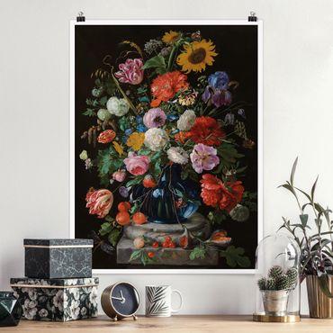 Poster - Jan Davidsz De Heem - Vaso di vetro con i fiori - Verticale 4:3