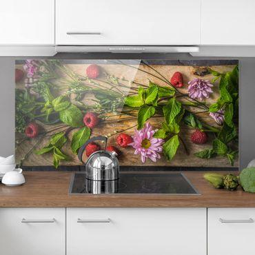 Paraschizzi in vetro - Flowers Raspberry Mint - Orizzontale 1:2