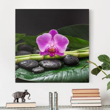 Stampa su tela - Green Bamboo Con L'orchidea Blossom - Quadrato 1:1