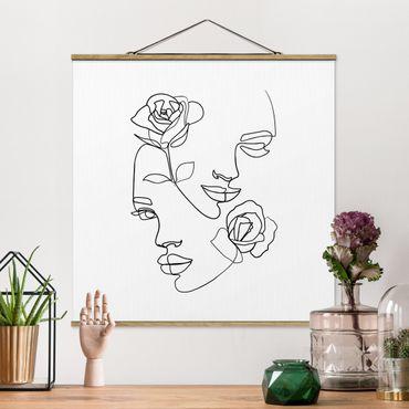 Quadro su tessuto con stecche per poster - Line Art Faces donne Roses Bianco e nero - Quadrato 1:1